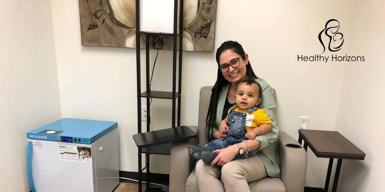 Sorimar Santiago and her son in Casa de Corazón's Lactation Room