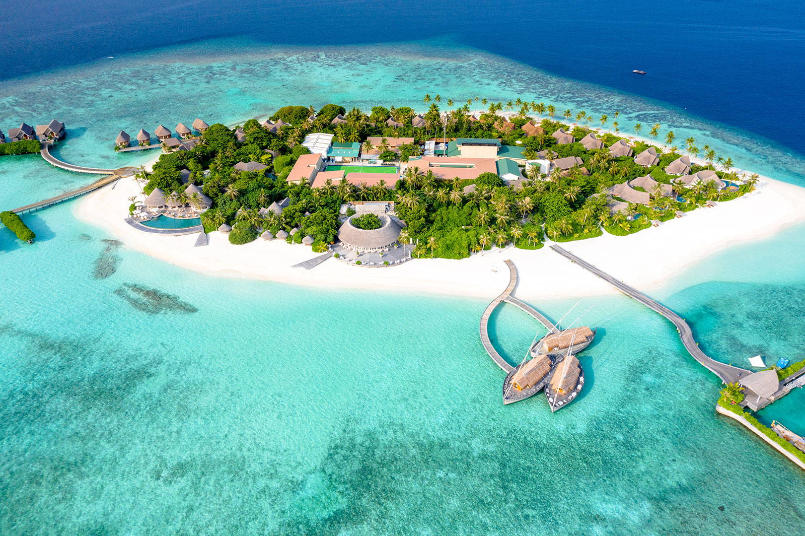 Tropical Island in Maldives Drone shot
