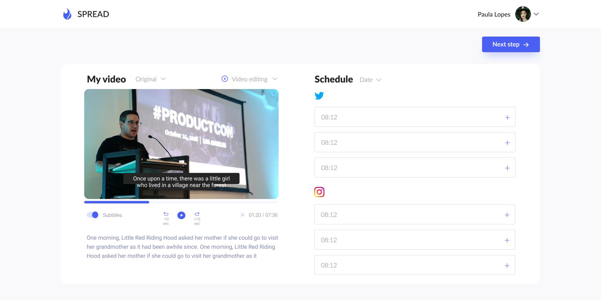 Content scheduling screen