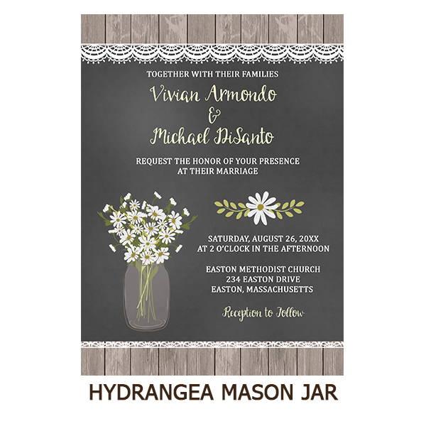 Hydrangea Chalkboard Mason Jar Wedding Suite