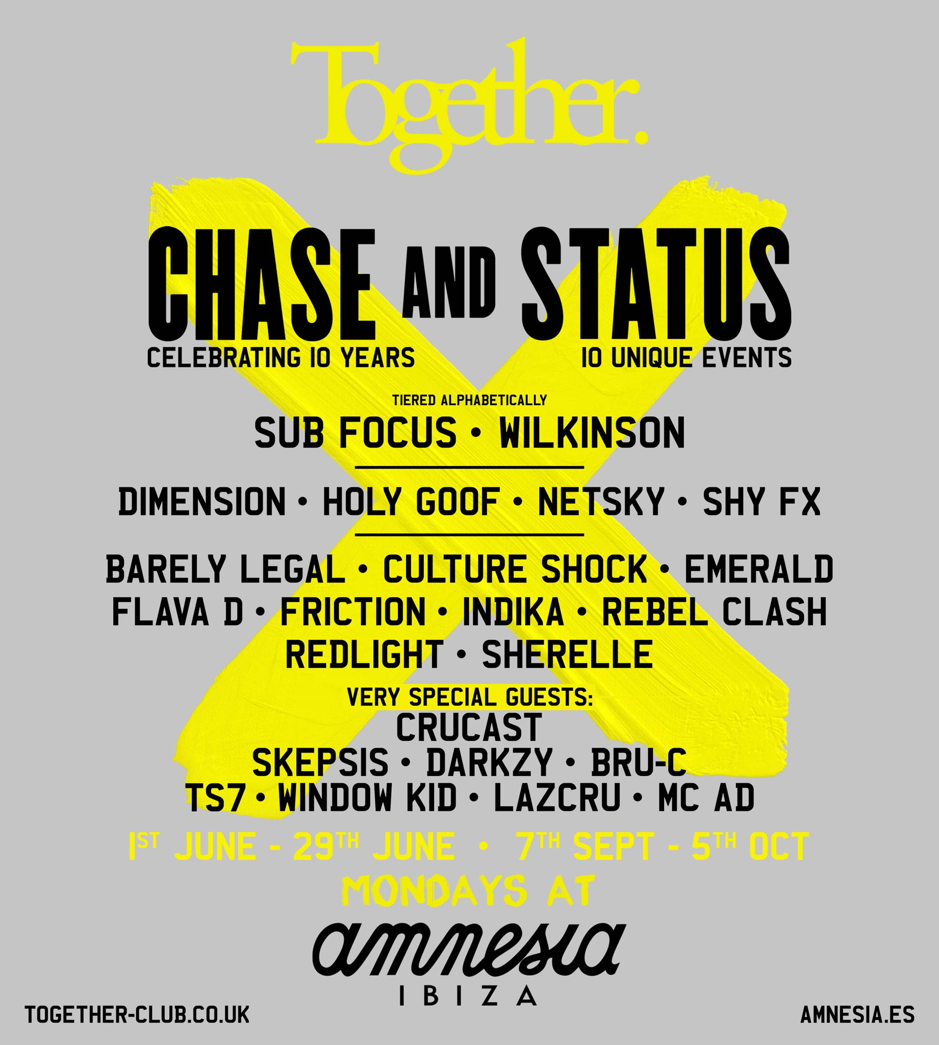 cartel artistas fiesta Together Amnesia Ibiza 2020