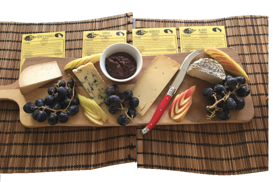 Gourmet cheese board with tasting notes