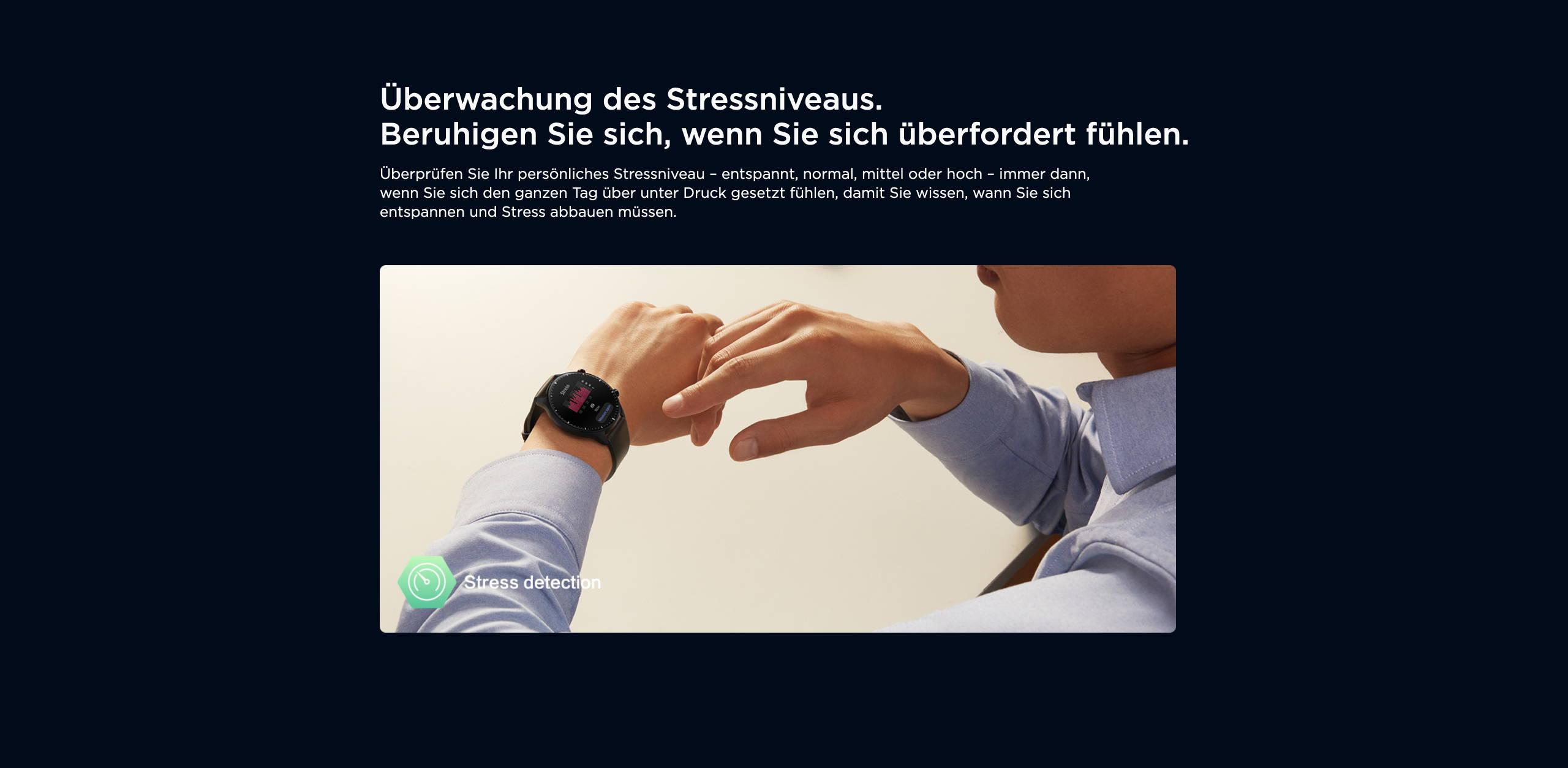 Amazfit GTR 2 - Überwachung des Stressniveaus. Beruhigen Sie sich, wenn Sie sich überfordert fühlen.