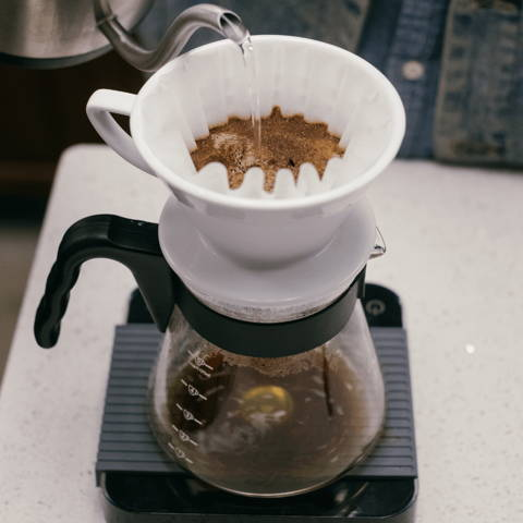 hario v60 being used to brew alma coffee