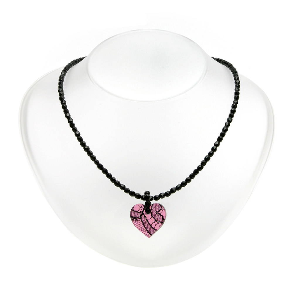 Pink lace heart  on blacked beaded necklace - Lily Gardner London