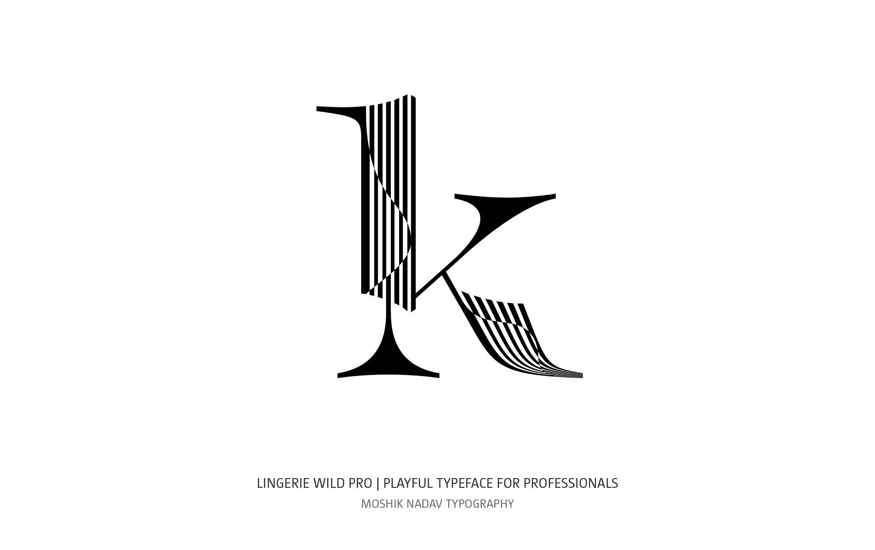 lowercase k logo designed with Lingerie Wild Pro Typeface by Moshik Nadav Typography