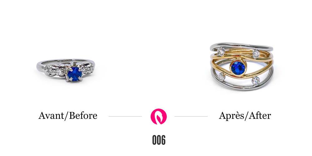 Bague en or blanc avec un saphir et des diamants transformée en une bague deux tons avec les pierres précieuses intercalées entre les multiples tiges. Bague Nuit étoilée de Flamme en rose.