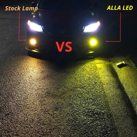 COB-72 H8 H11 LED Fog Light Bulbs 3000K Yellow vs Incandescent Lamps