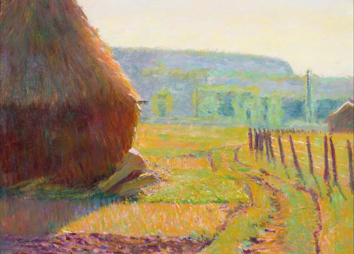 Image credit: Theodore Earl Butler (American, 1861–1936) Grainstacks, Giverny, ca. 1897 Oil on canvas 21 1/4 x 28 3/4 inches Dixon Gallery and Gardens, Museum purchase by the Dixon Life Members Society, 1991.4