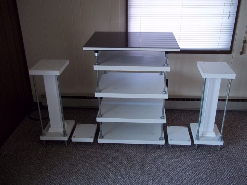 Custom Made FLEXY Rack With real Marble top! And speaker stands