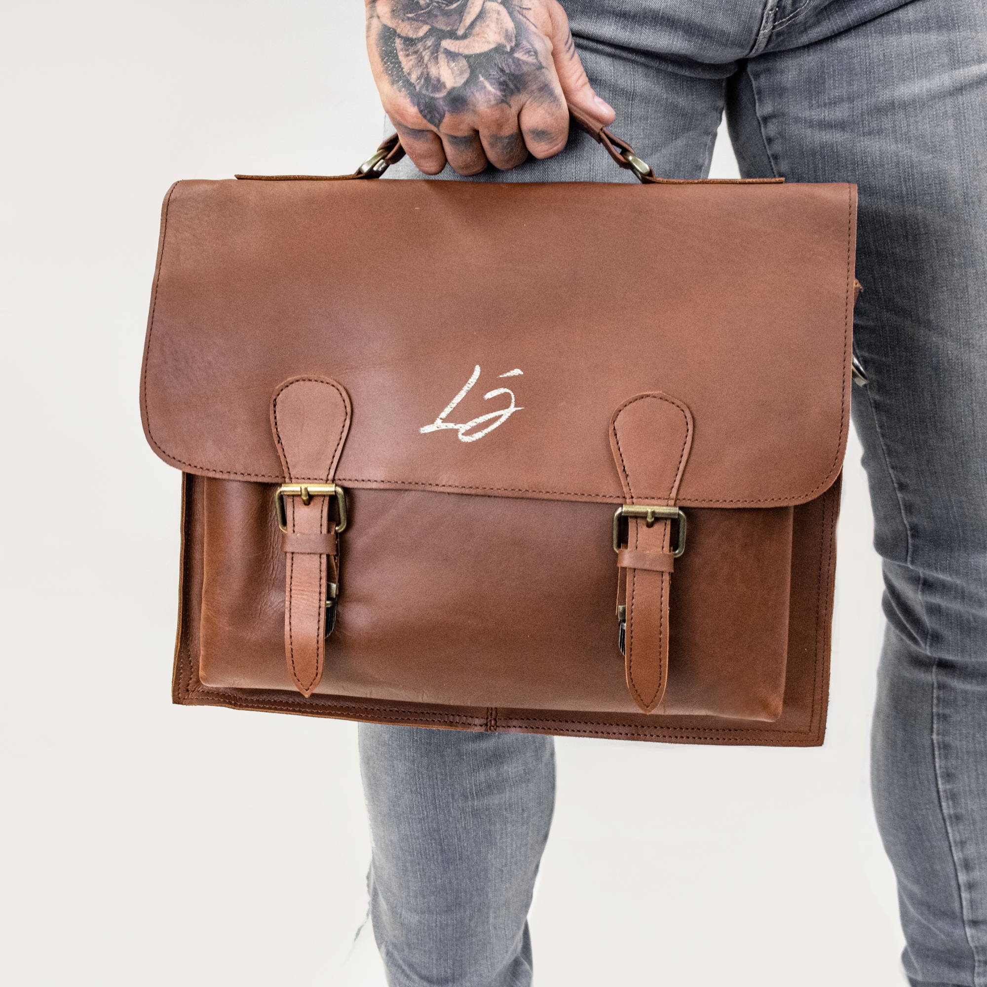 Branded Leather Satchel