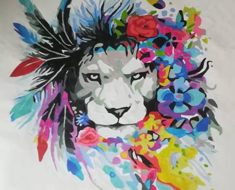 Peinture par numeros client d'un lion style amérindien