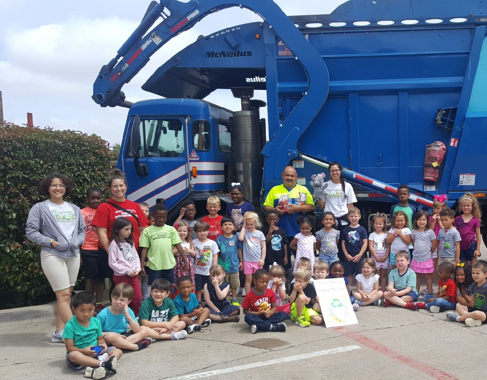 garbage man with the children