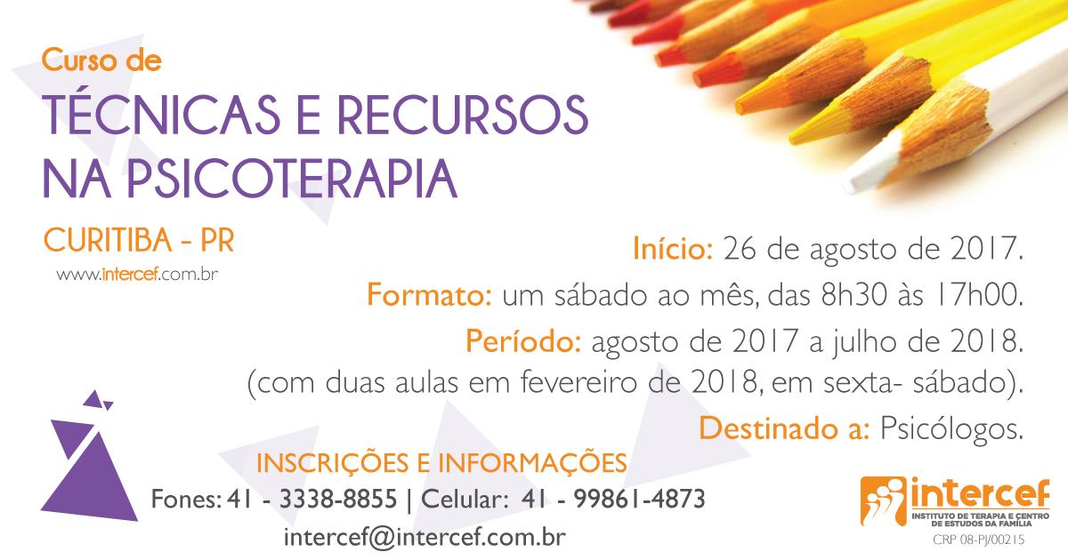 CURSO DE TÉCNICAS E RECURSOS NA PSICOTERAPIA