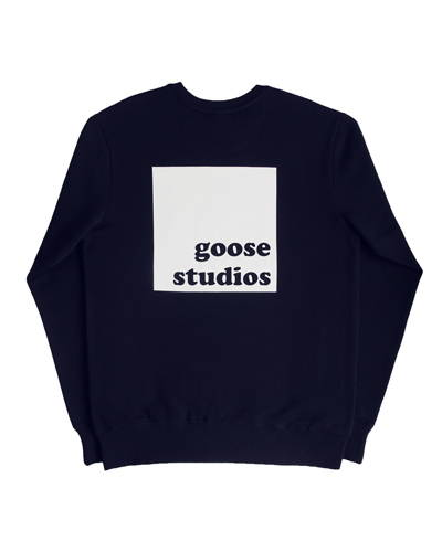 Navy blue mens organic cotton sweatshirt with large square white logo from Goose Studios