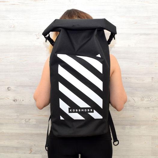 Большой черный рюкзак со светоотражающим принтом / Black RollTop