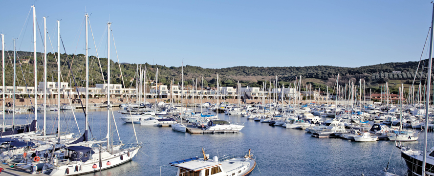 Hamburg - View of the exclusive properties and the resort's own marina of Marina di Scarlino between the hills of the Maremma in one of the most beautiful bays in Tuscany.