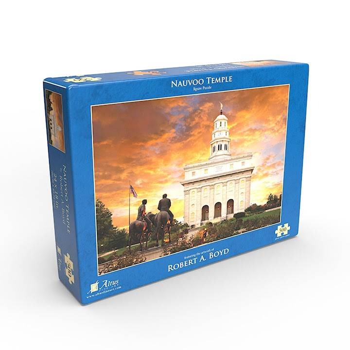 LDS art puzzle of the Nauvoo Temple at sunset.