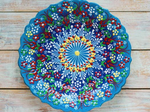 Керамическое блюдо (голубой цвет)