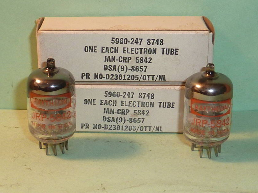 Raytheon 5842 417A Windmill Getter Tubes, Matched Pair, Tested, NOS, NIB