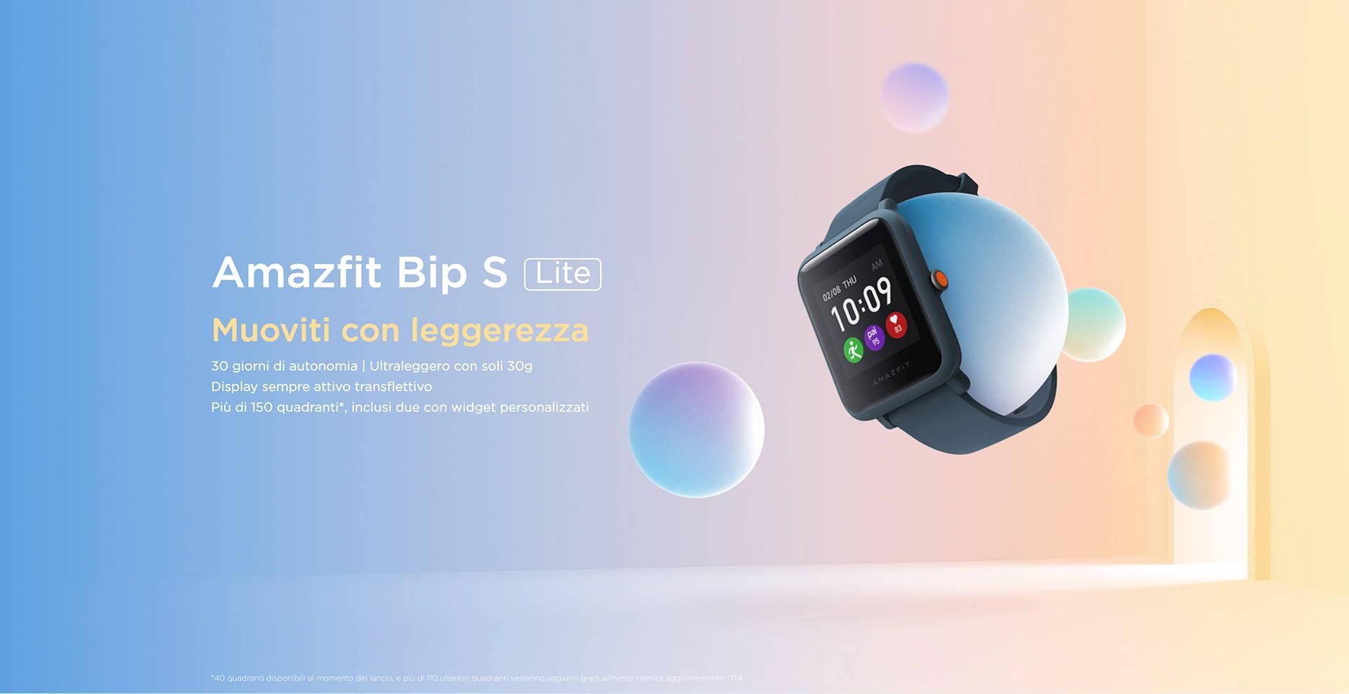 Amazfit IT - Amazfit Bip S Lite - Muoviti con leggerezza | 30 giorni di autonomia | Ultraleggero con soli 30g | Display sempre attivo transflettivo | Più di 150 quadranti, inclusi due con widget personalizzati