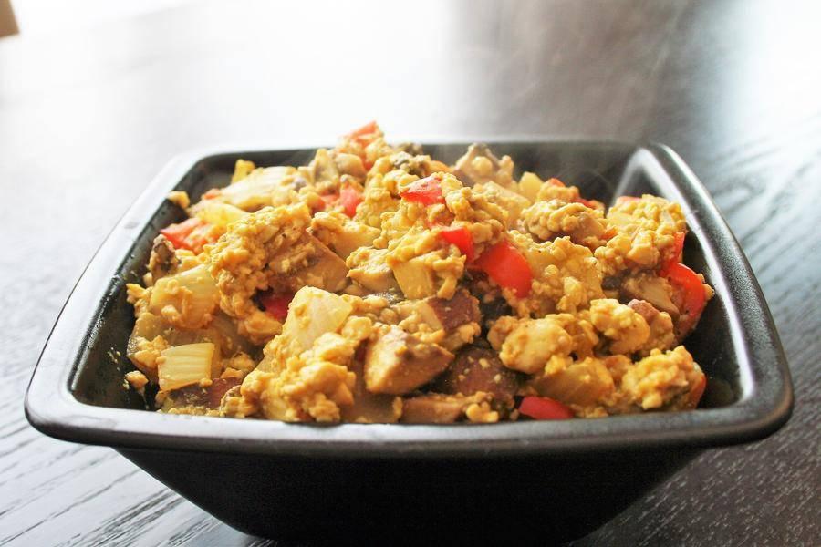 A steaming bowl of tofu scramble.