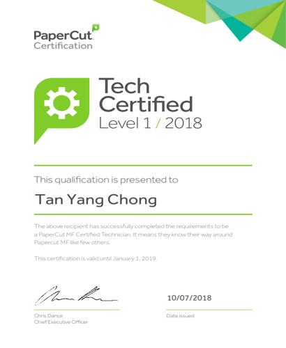 Papercut certification for Tan Yang Chong