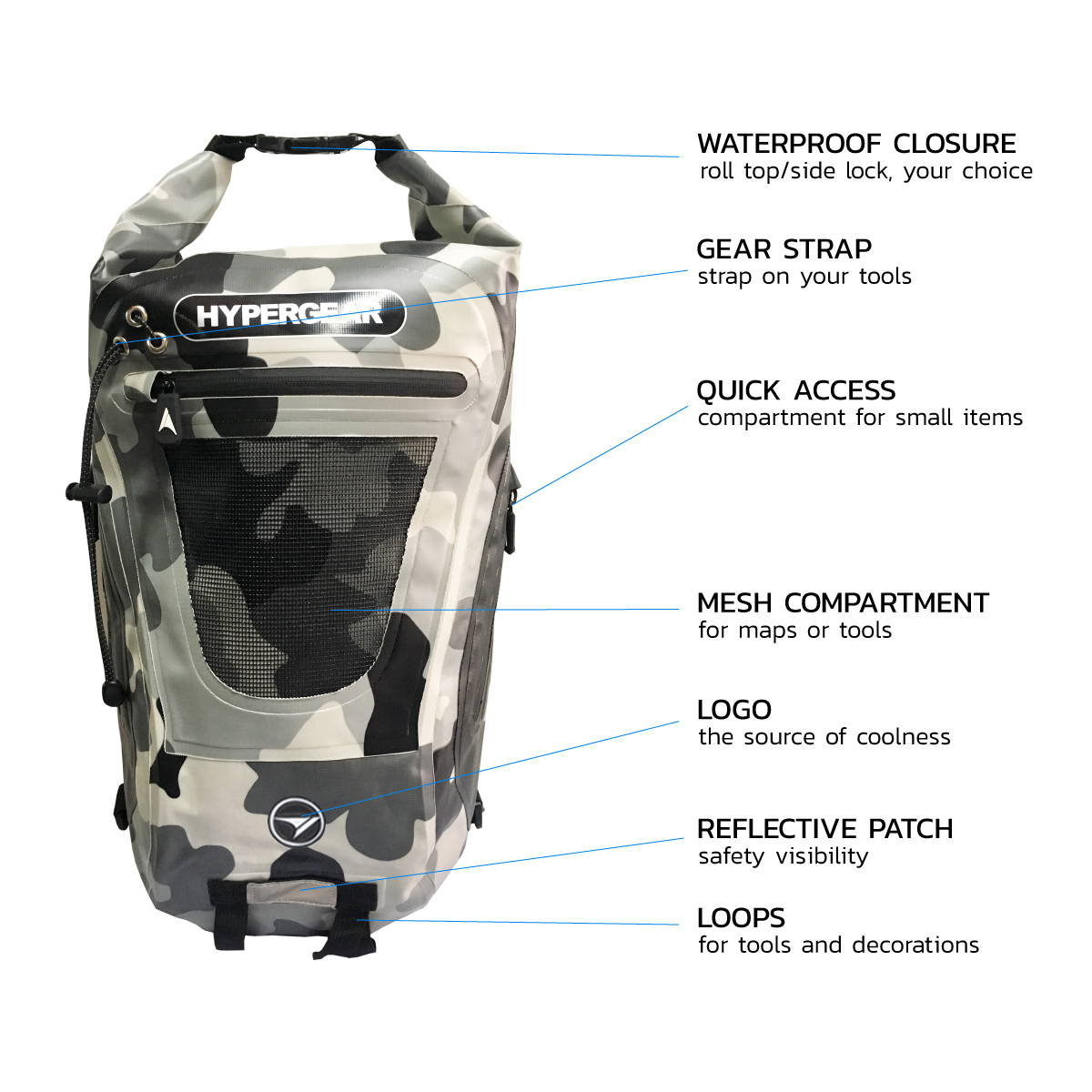 HYPERGEAR Dry Pac Tough 20L Bag, hiking, camping, outdoor, adventure, activity, 20L, spacious, compartment, lightweight