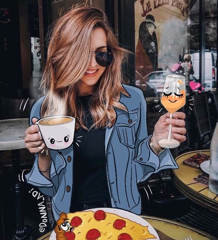 Coffe Wine Pizza Mixed Media Art by Donna Adi