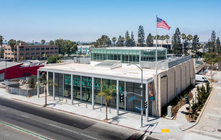 Front view of Beckmen YOLA Center from La Brea Avenue