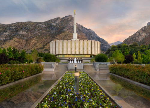 Provo Temple photo after rainfall.