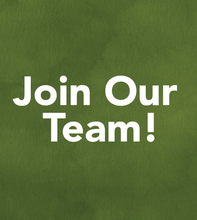 "White letters on a green background say ""join our team"""