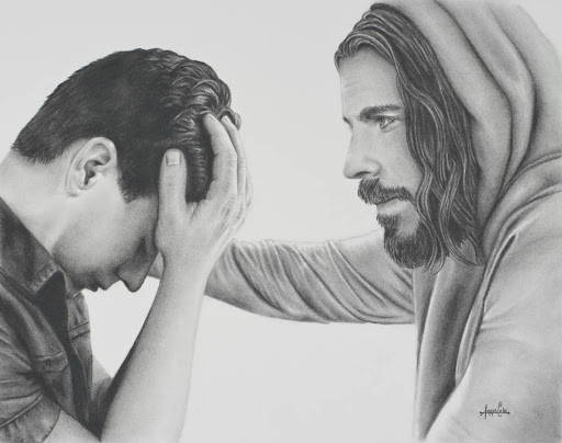 Charcoal drawing of Jesus comforing a young man.
