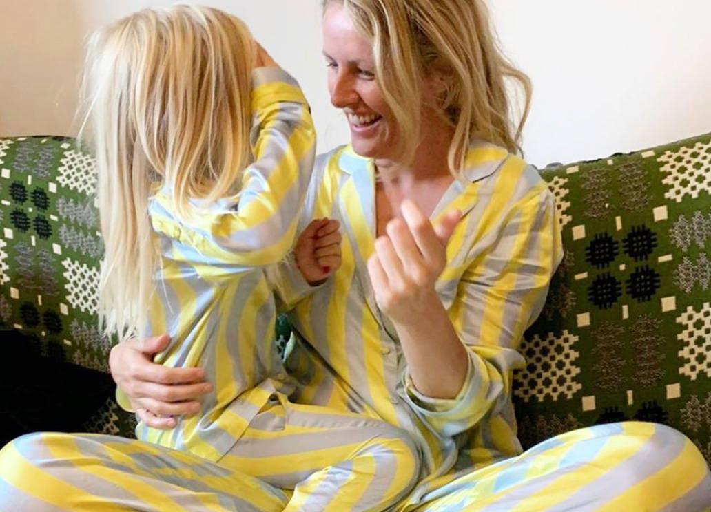Laura Weirs matches with her daughter in YOLKE Citrine Stripe Silk Pyjamas