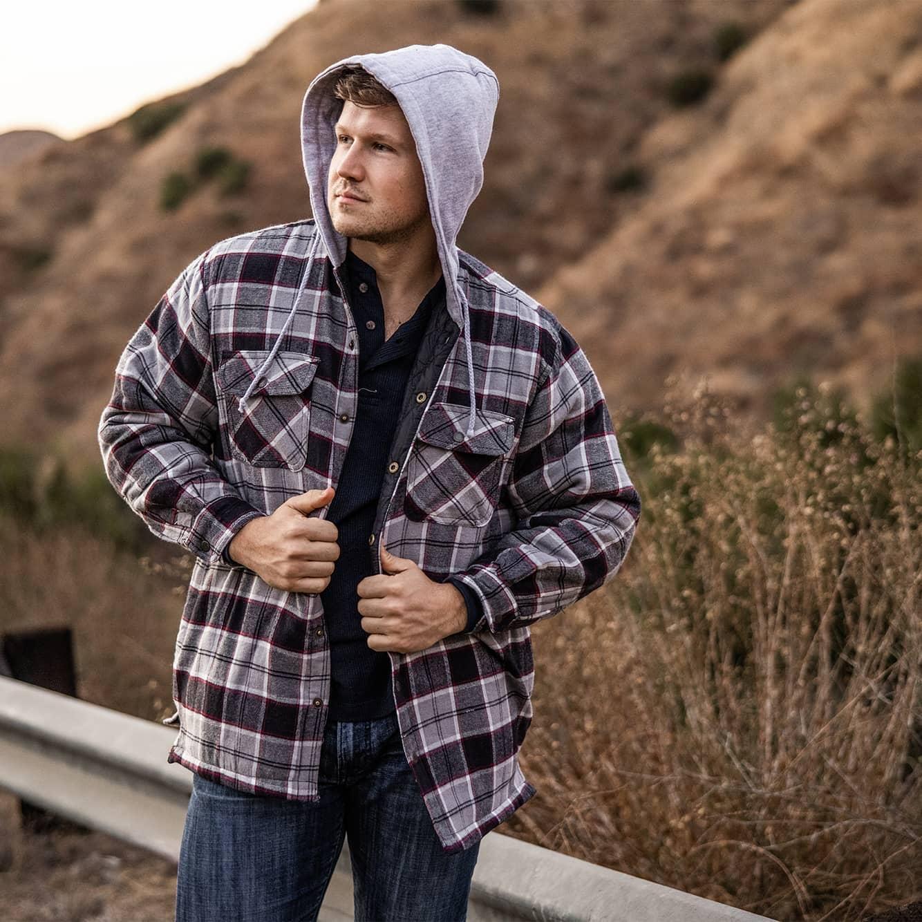Man wearing shirt jacket outside
