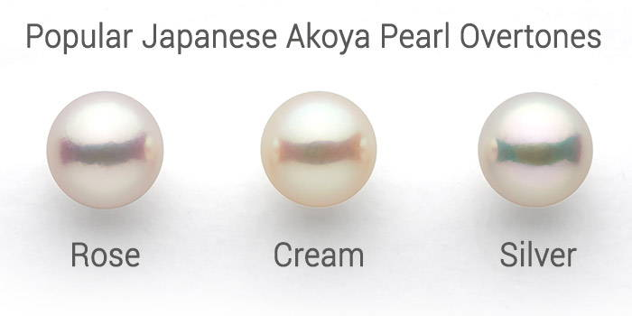 Akoya pearl overtones: rose, cream/ivory, silver