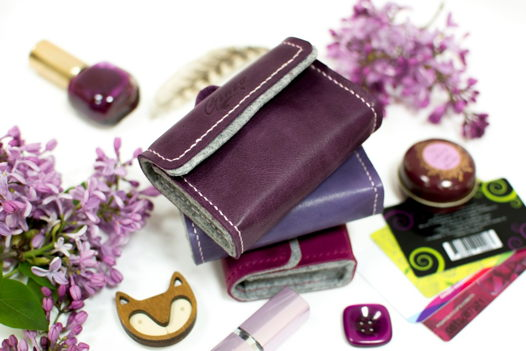 Кожаный чехольчик для бонусных карточек -SUITCASE- цвет Ploom