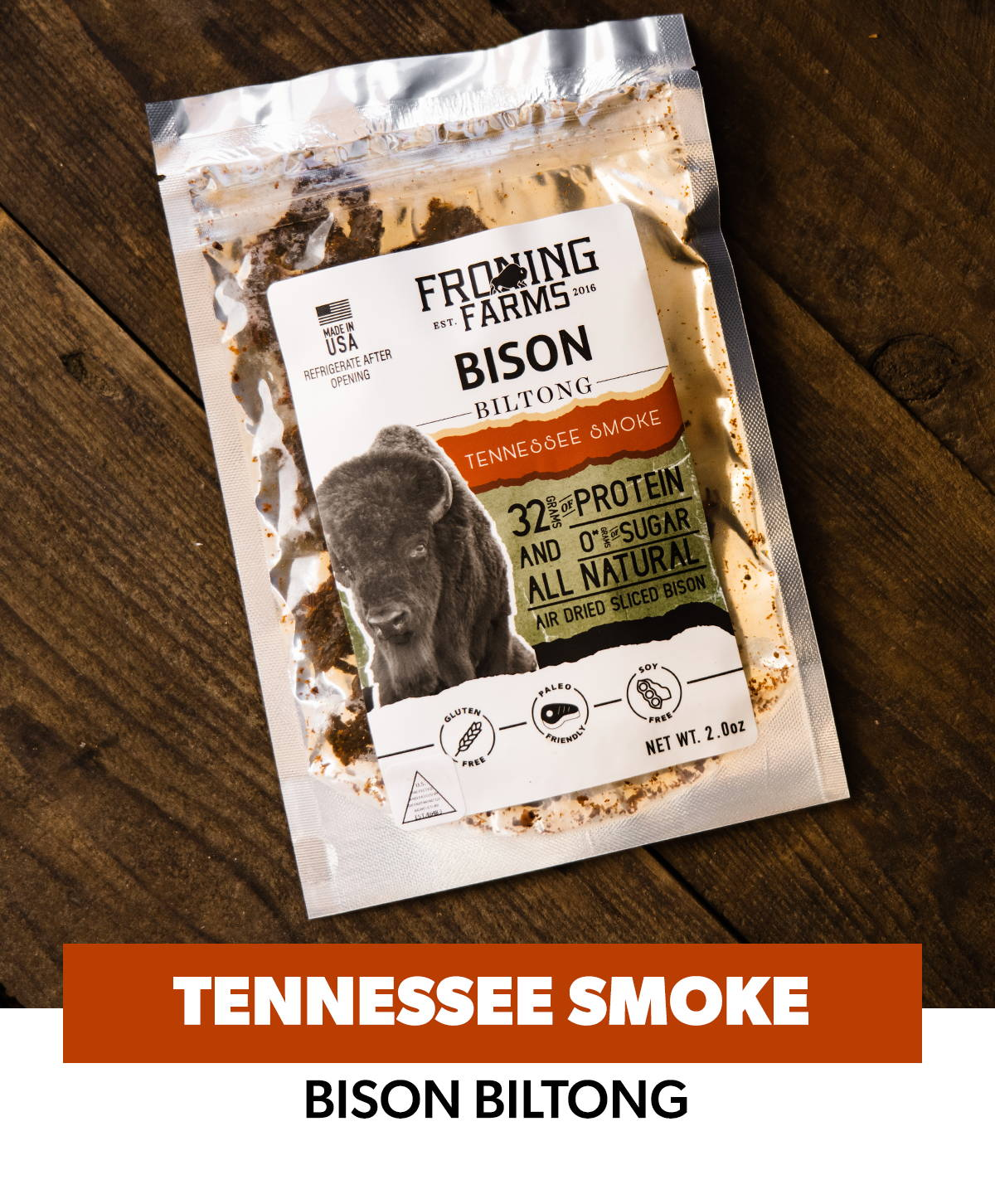 Froning Farms Bison Biltong Tennessee Smoke