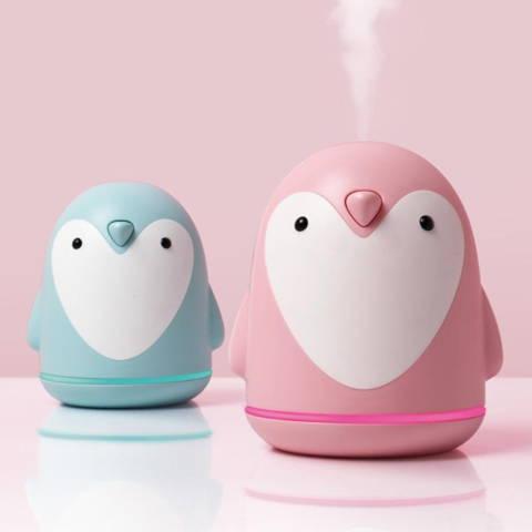 Humidificateur diffuseur d'huile essentielle pingouin USB rose et bleu