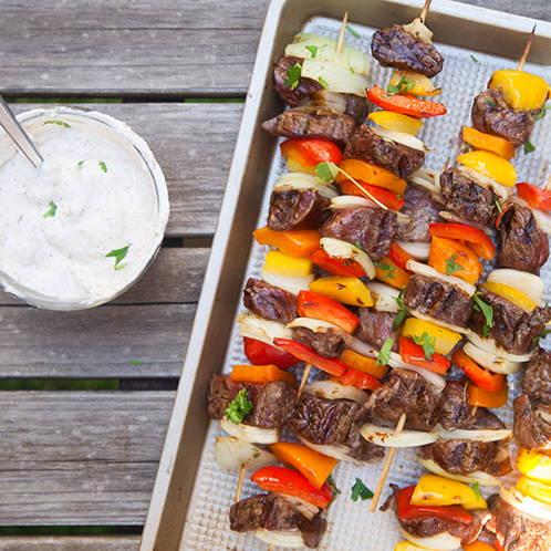 Zaatar Steak and Veggie Kabobs with Spiced Yogurt