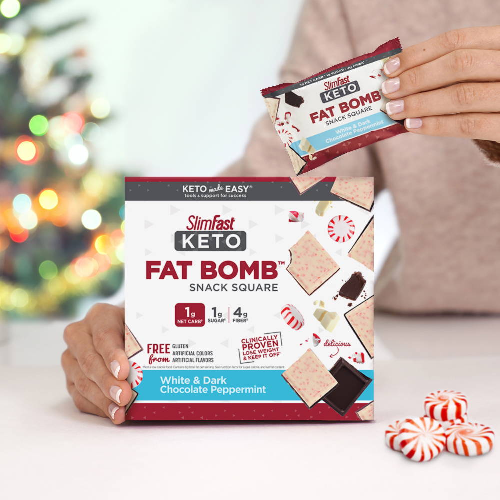 Products SlimFast Keto Fat Bomb White & Dark Chocolate Peppermint Snack Square Lifestyle Image