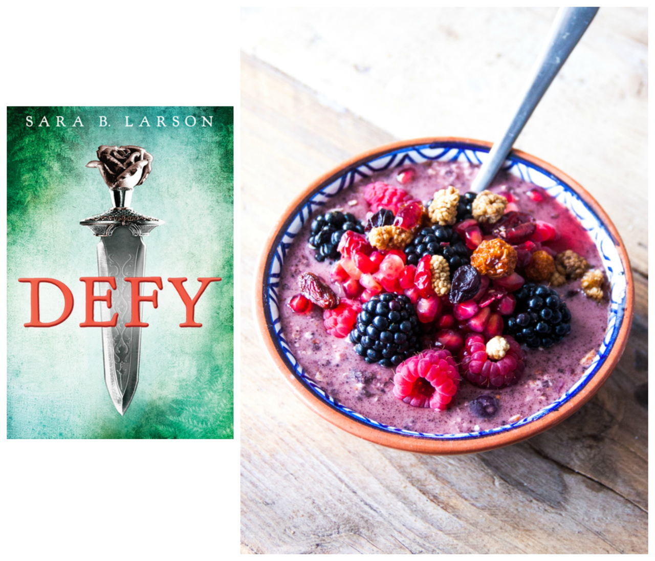 Book review of DEFY by Sarah B. Larson, a YA Fantasy, plus a recipe for an Acai Smoothie Bowl Recipe from Rosalie Ruardy // www.bridgidgallagher.com