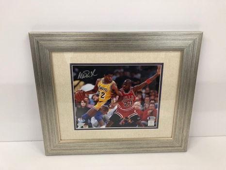 """Legends of the Game"" Magic Johnson vs. Michael Jordan Framed Photograph Hand Signed by Magic Johnson"