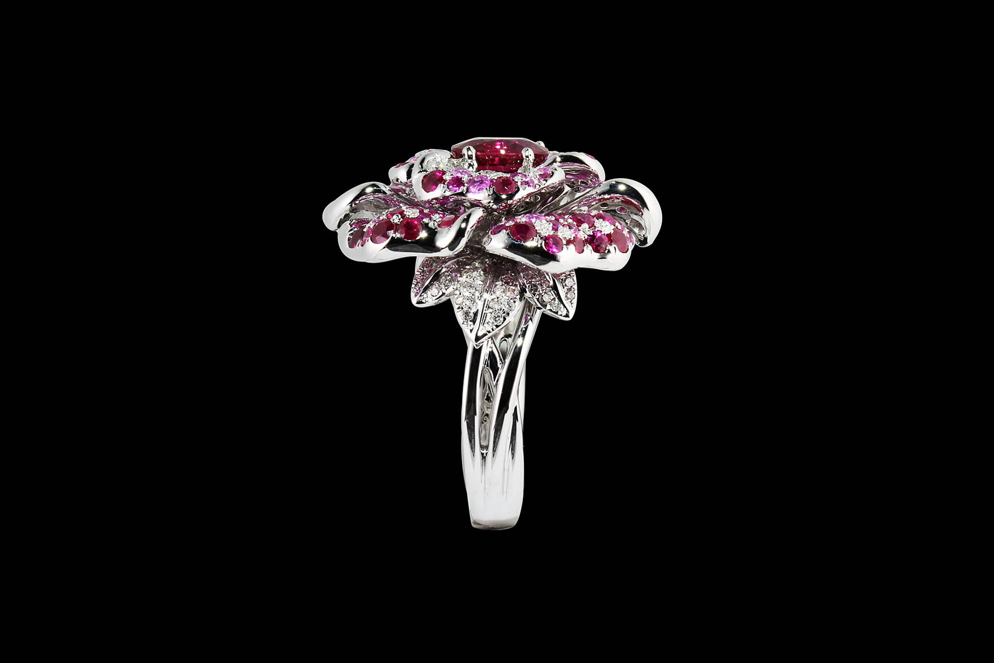 Burmese Rose ring side view yves lemay jewelry