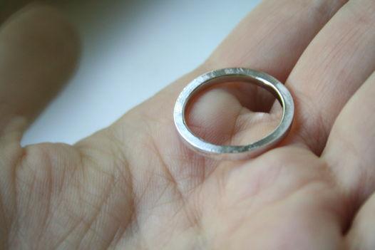 Прямоугольное кольцо из белого золота