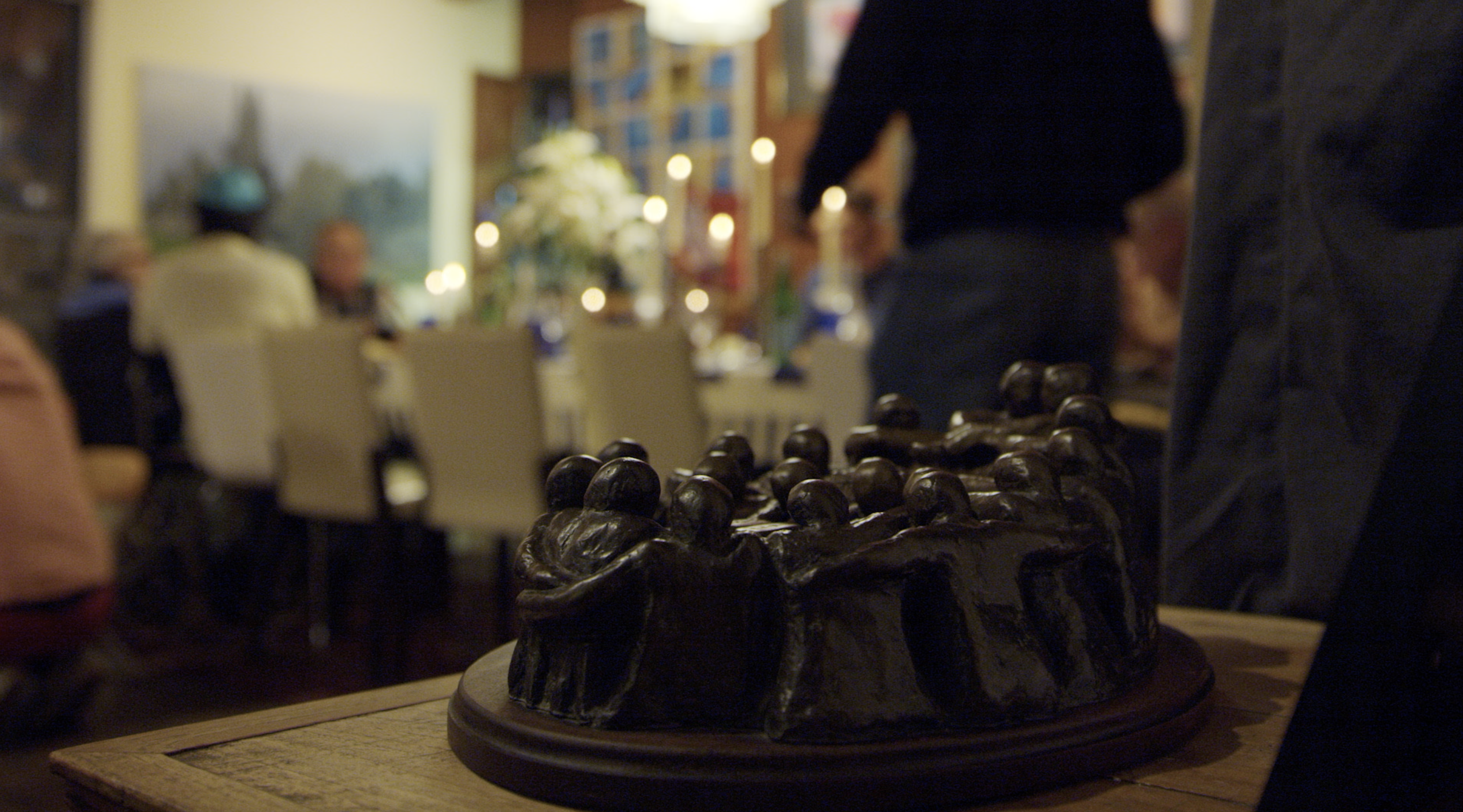 This sculpture by Trudy's husband Irving, symbolizing family and togetherness, is in every one of the Lehrer's homes.