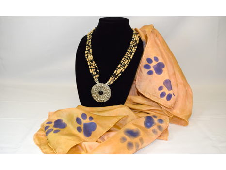 Medallion Necklace and Paw Print Scarf