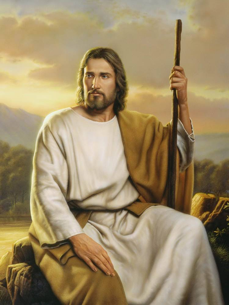 Beautiful painting of Jesus Christ holding a staff and sitting on the edge of a river.