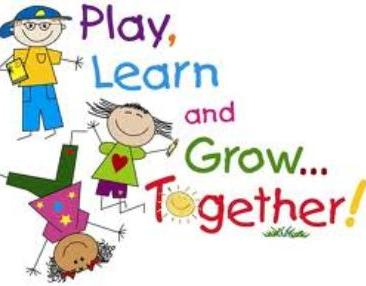 "Illustrated poster saying ""play, learn and grow together"", featuring little children jumping, reading and doing cartwheels"