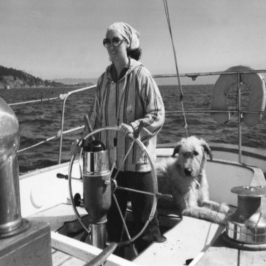 mom sailing in san francisco bay with Irish wolfhound